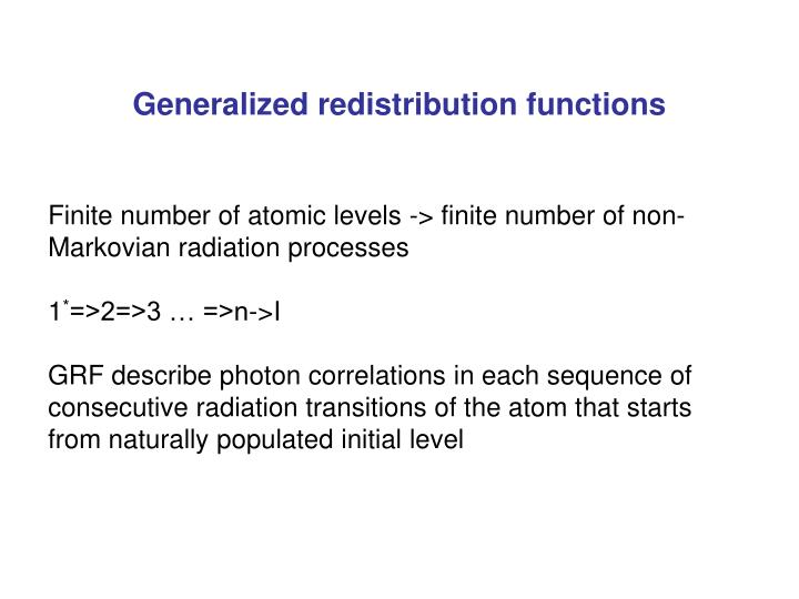 Generalized redistribution functions
