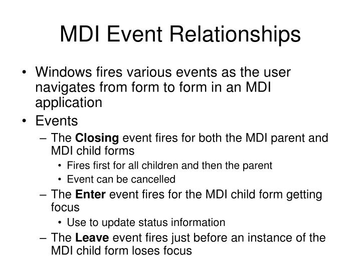 MDI Event Relationships