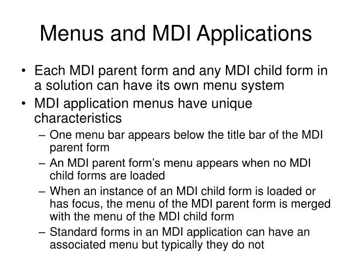 Menus and MDI Applications