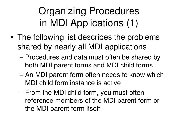 Organizing Procedures