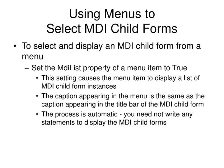 Using Menus to