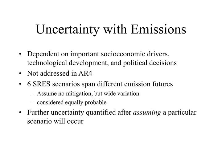 Uncertainty with Emissions