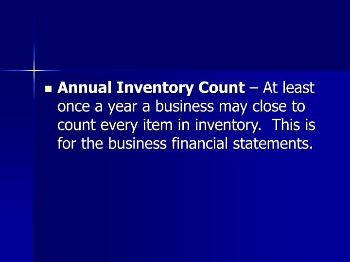 Annual Inventory Count