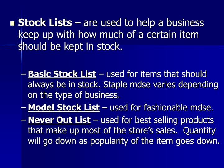 Stock Lists