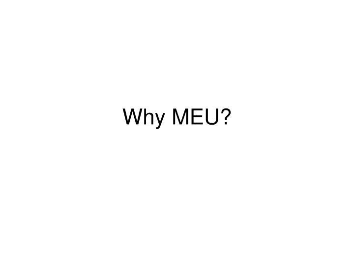 Why MEU?