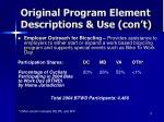 original program element descriptions use con t2