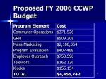 proposed fy 2006 ccwp budget