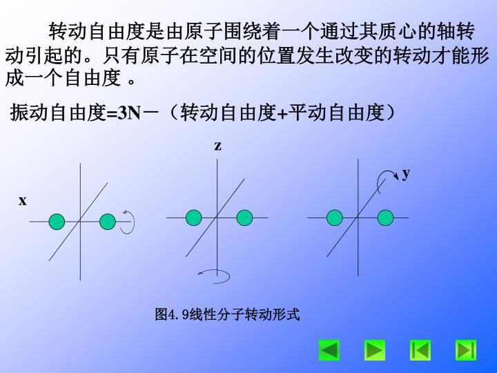 转动自由度是由原子围绕着一个通过其质心的轴转动引起的。只有原子在空间的位置发生改变的转动才能形成一个自由度 。