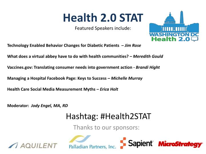 Health 2 0 stat featured speakers include