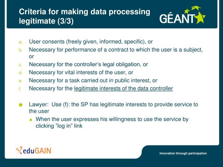 Criteria for making data processing legitimate (3/3)