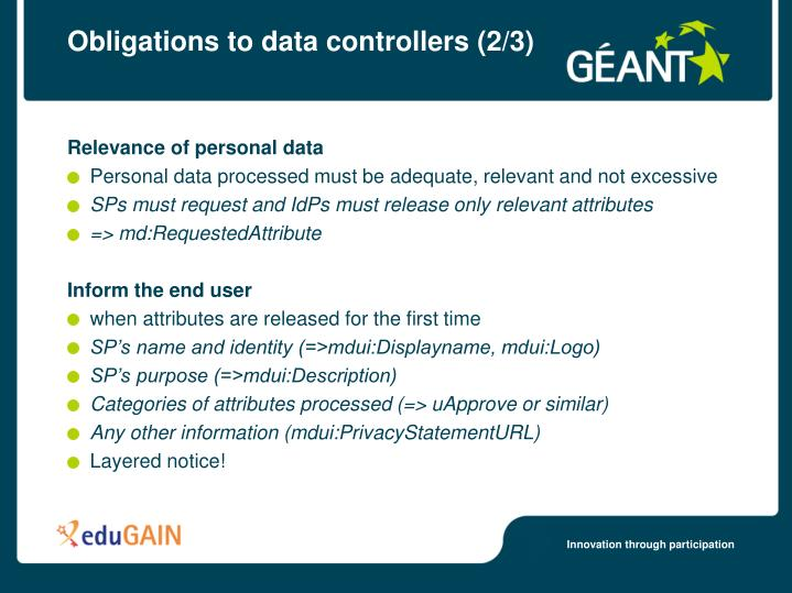 Obligations to data controllers (2/3)