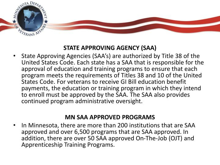 STATE APPROVING AGENCY (SAA)