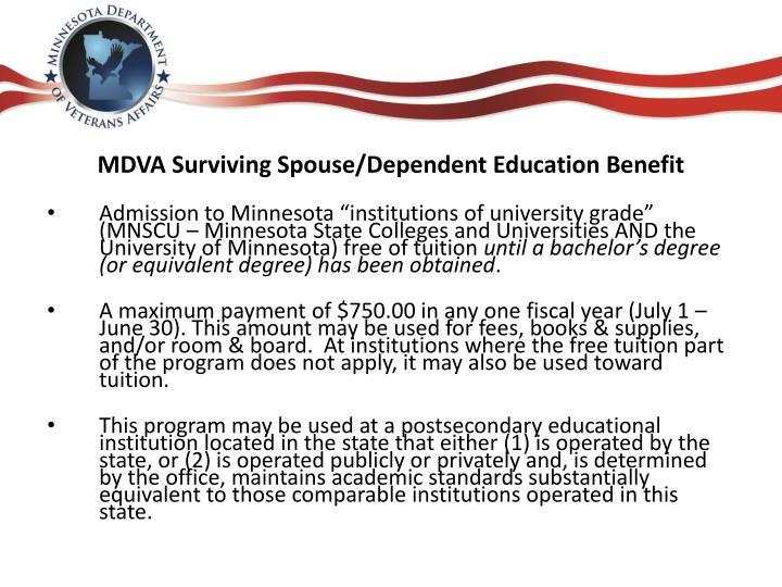MDVA Surviving Spouse/Dependent Education Benefit