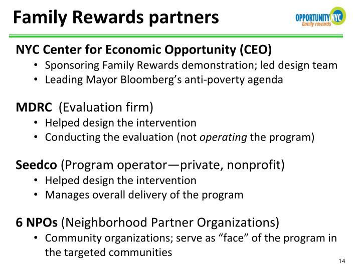 Family Rewards partners