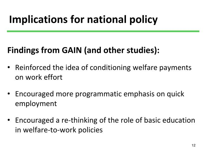 Implications for national policy