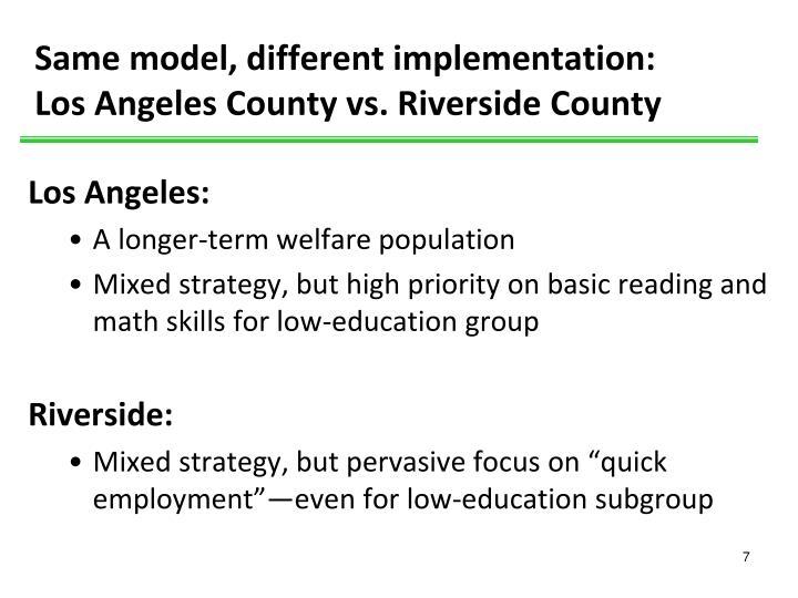 Same model, different implementation: