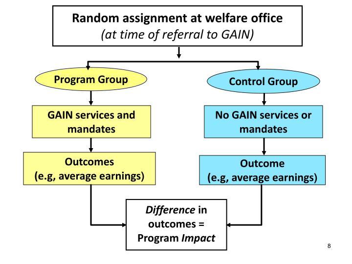 Random assignment at welfare office
