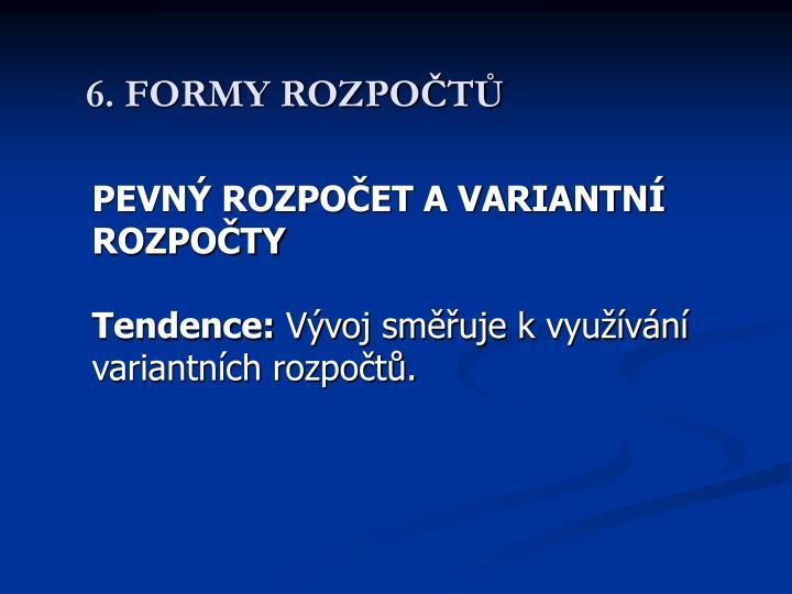 6. FORMY ROZPOČTŮ