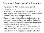 operational committee considerations