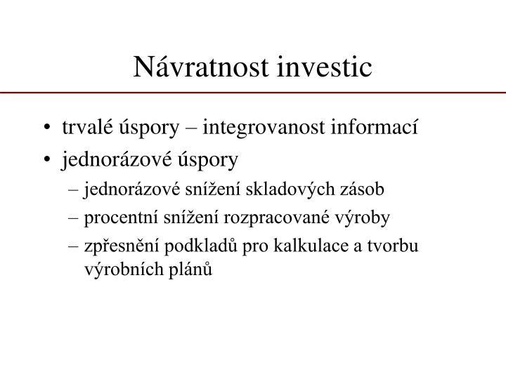 Návratnost investic
