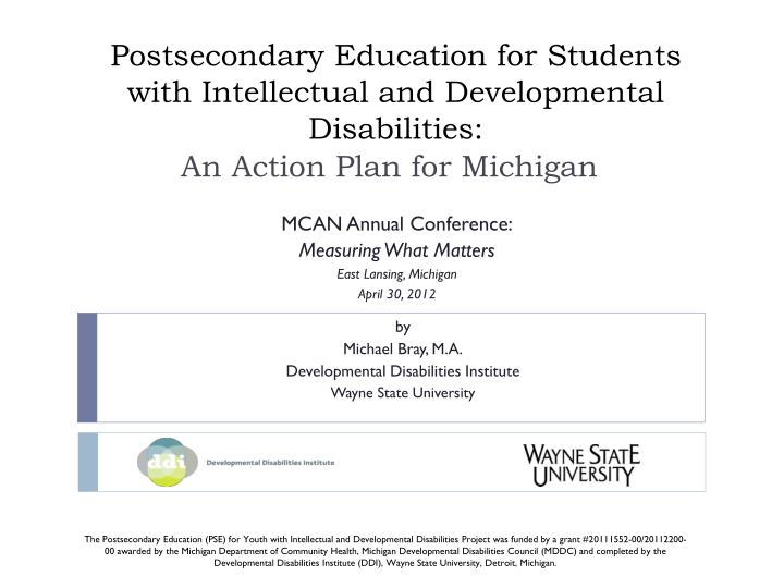 postsecondary education for students with intellectual and developmental disabilities