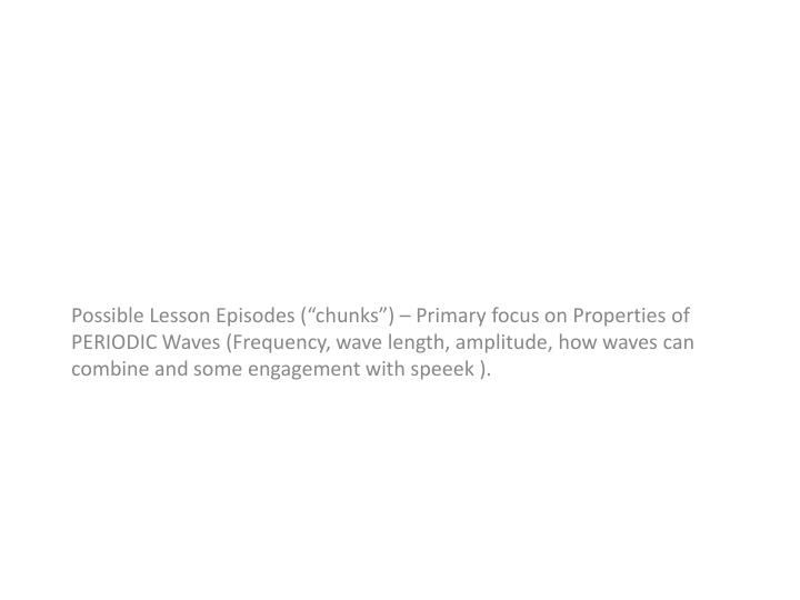 Possible Lesson Episodes (