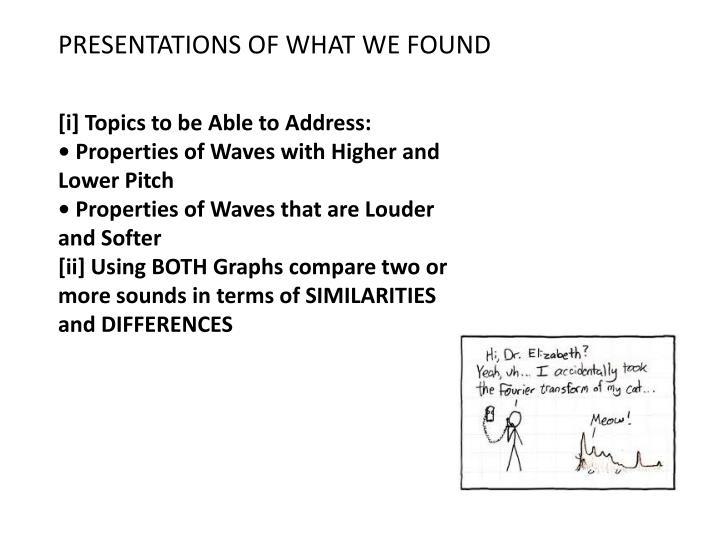 PRESENTATIONS OF WHAT WE FOUND