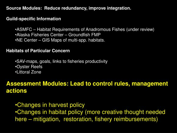 Source Modules:  Reduce redundancy, improve integration.