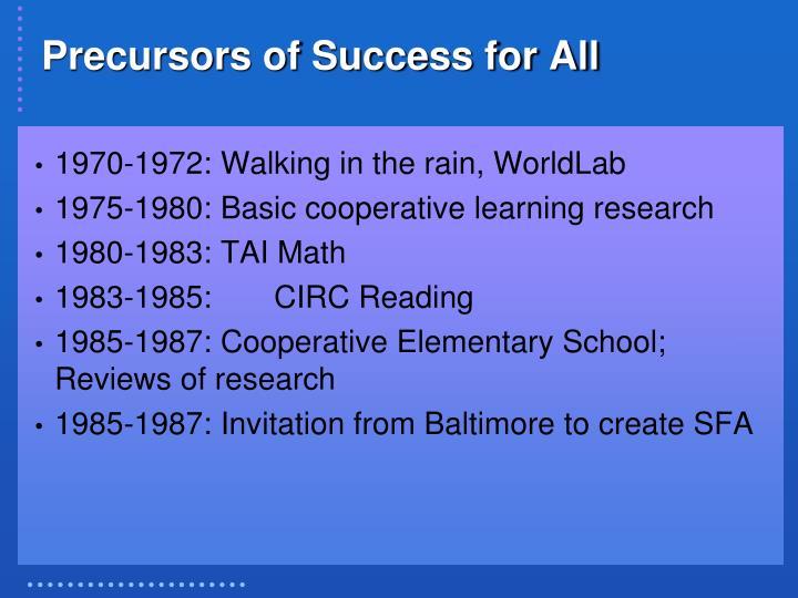 Precursors of Success for All