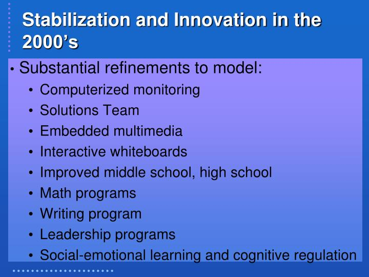 Stabilization and Innovation in the 2000's