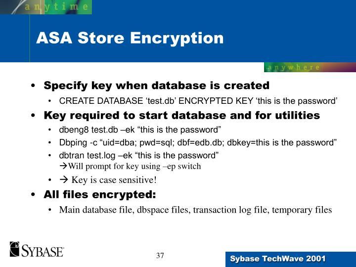 ASA Store Encryption