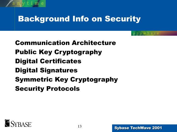 Background Info on Security