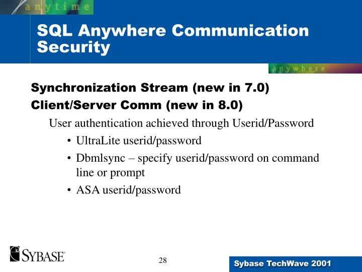SQL Anywhere Communication Security