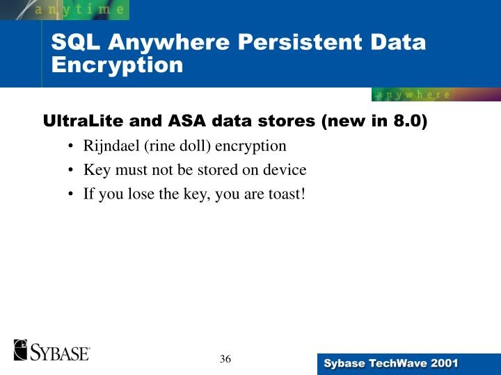 SQL Anywhere Persistent Data Encryption