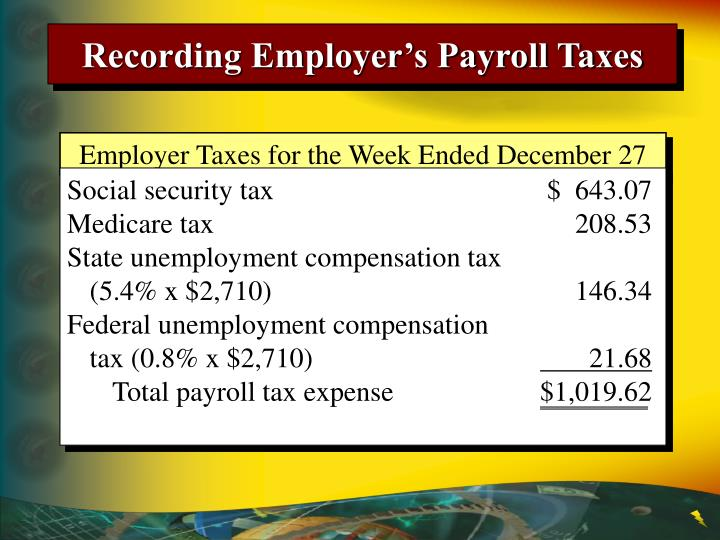 Employer Taxes for the Week Ended December 27