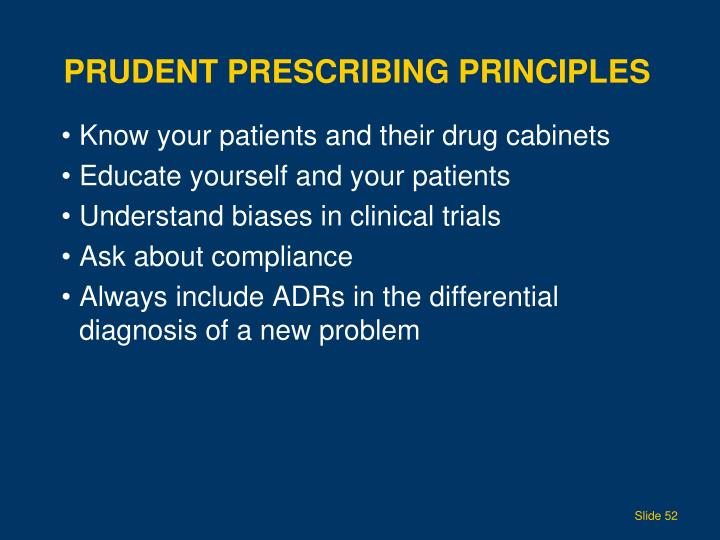 Prudent Prescribing Principles