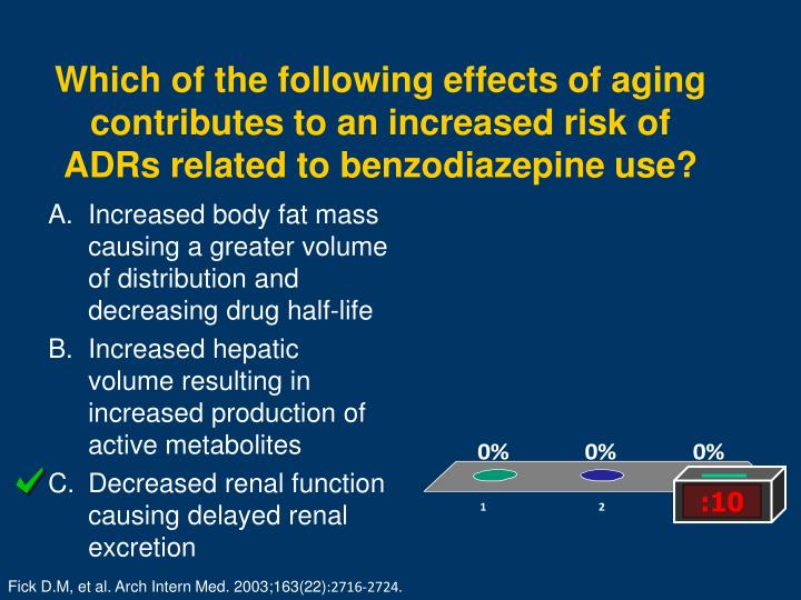 Which of the following effects of aging contributes to an increased risk of ADRs related to benzodiazepine use?
