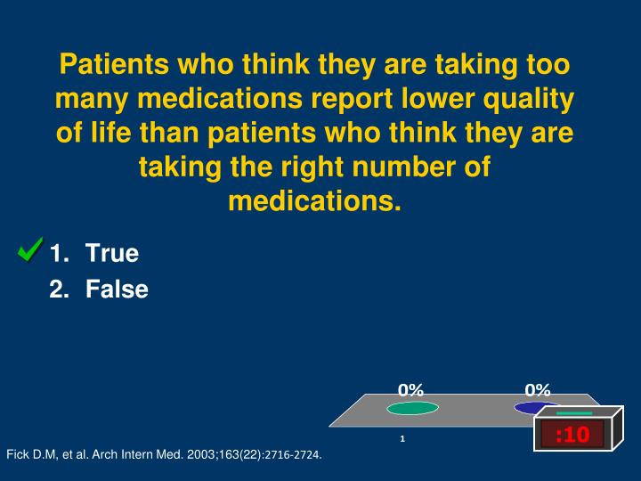 Patients who think they are taking too many medications report lower quality of life than patients who think they are taking the right number of medications.