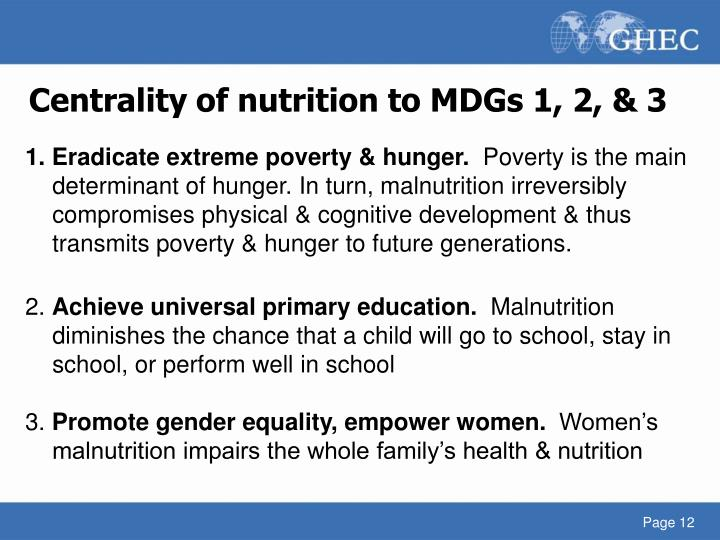Centrality of nutrition to MDGs 1, 2, & 3