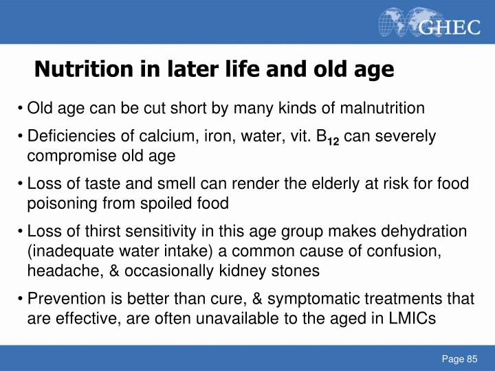 Nutrition in later life and old age