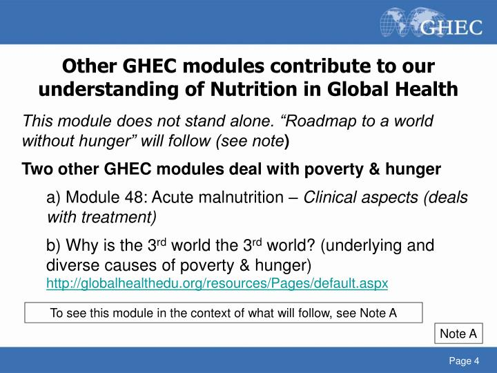 Other GHEC modules contribute to our understanding of Nutrition in Global Health
