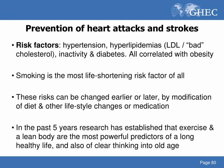 Prevention of heart attacks and strokes