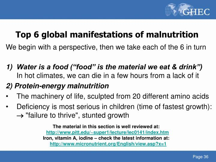 Top 6 global manifestations of malnutrition