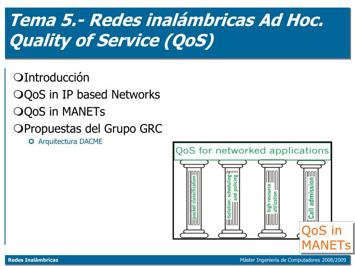 tema 5 redes inal mbricas ad hoc quality of service qos