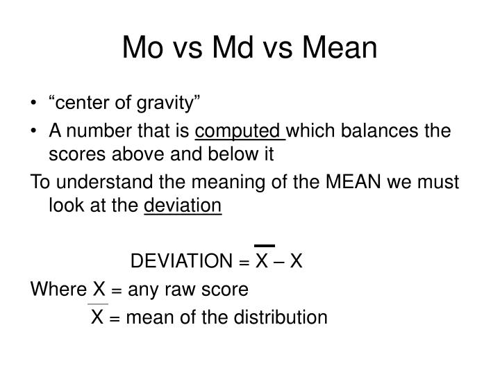Mo vs Md vs Mean