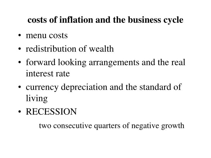 costs of inflation and the business cycle