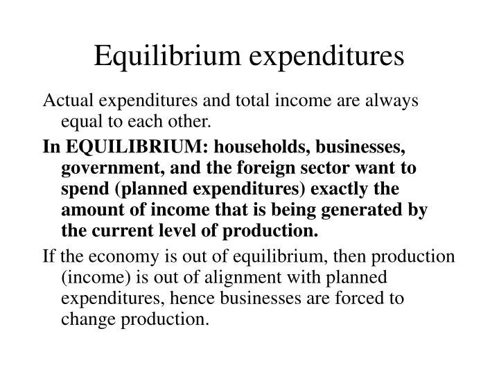 Equilibrium expenditures