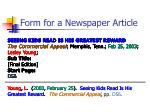 form for a newspaper article