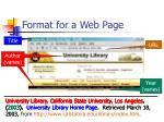 format for a web page