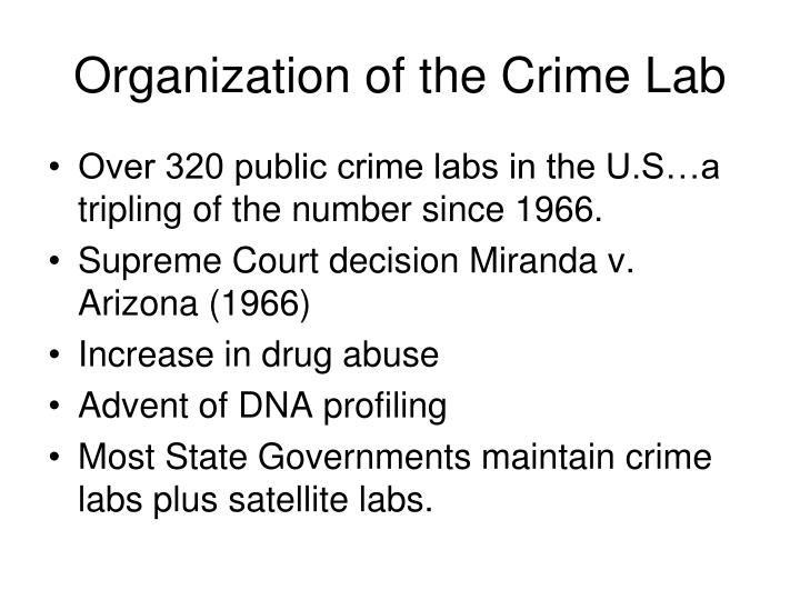 Organization of the Crime Lab